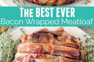 Sliced bacon wrapped meatloaf on plate with fresh herbs