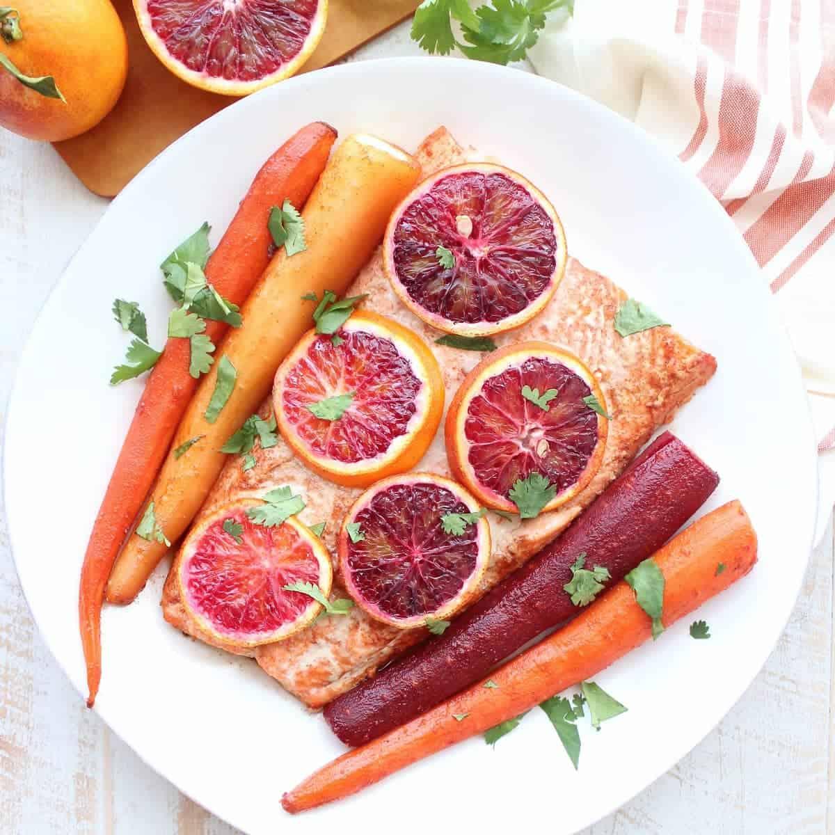 Blood Orange Baked Salmon & Carrots