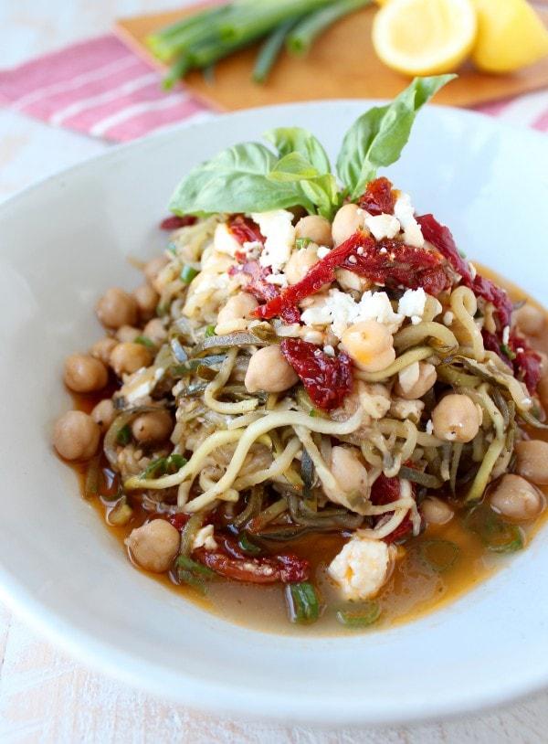 Vegetarian Greek Zucchini Noodles Recipe