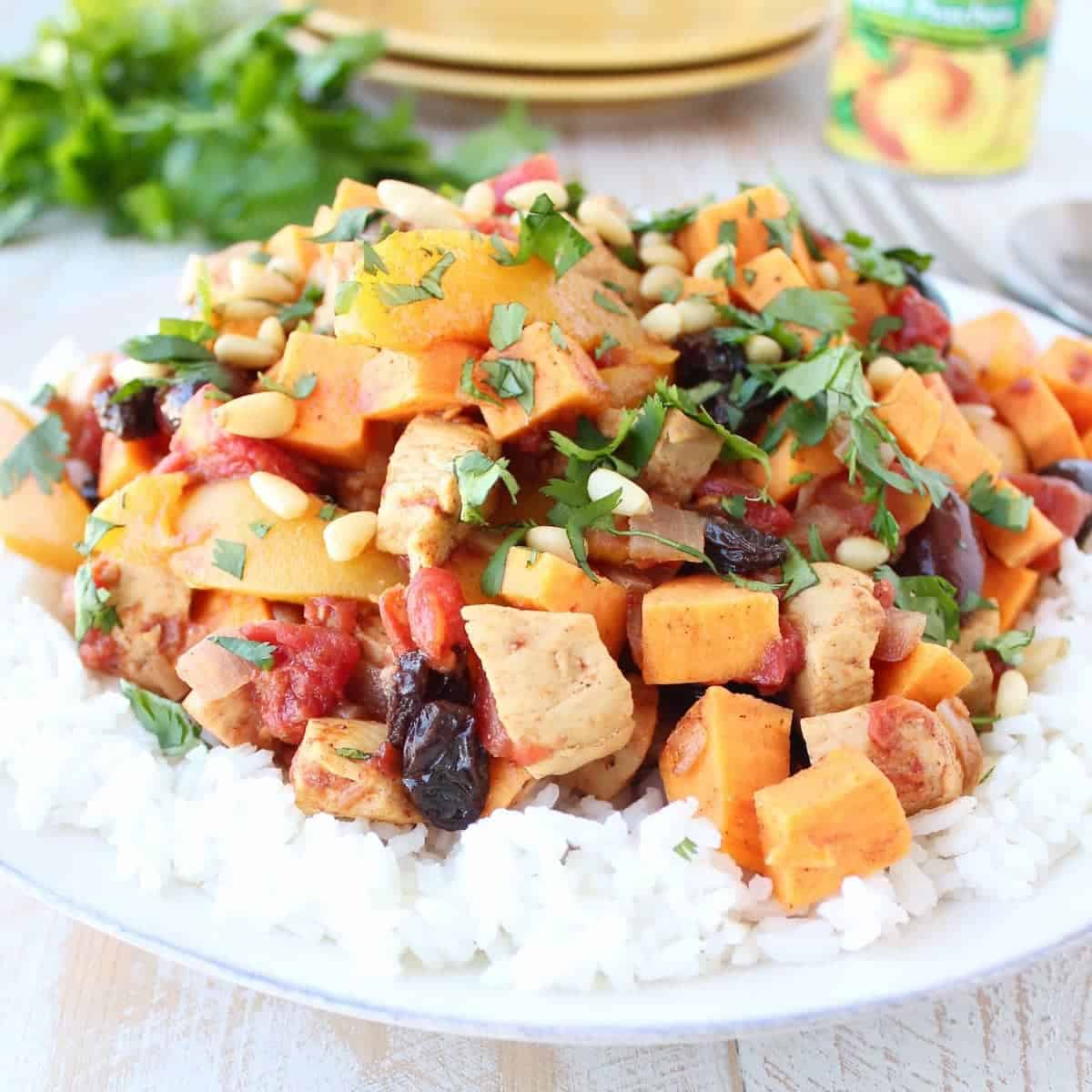 One Pot Moroccan Chicken with California Cling Peaches