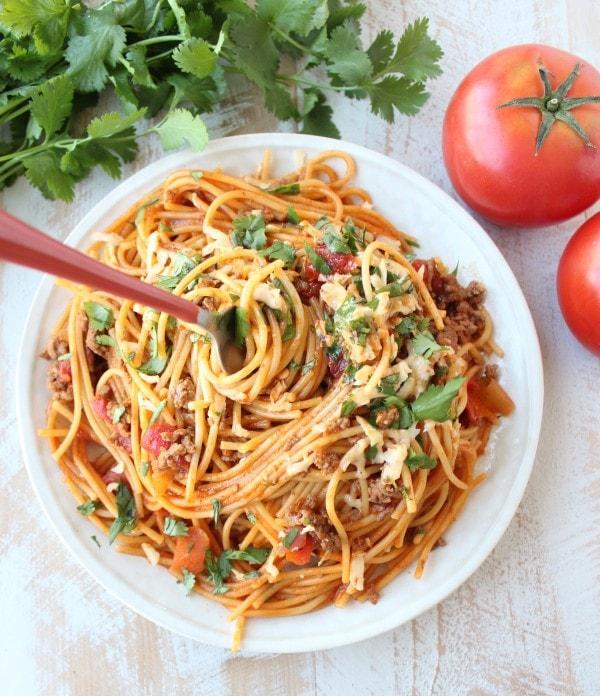 One Pot Buffalo Taco Spaghetti Recipe