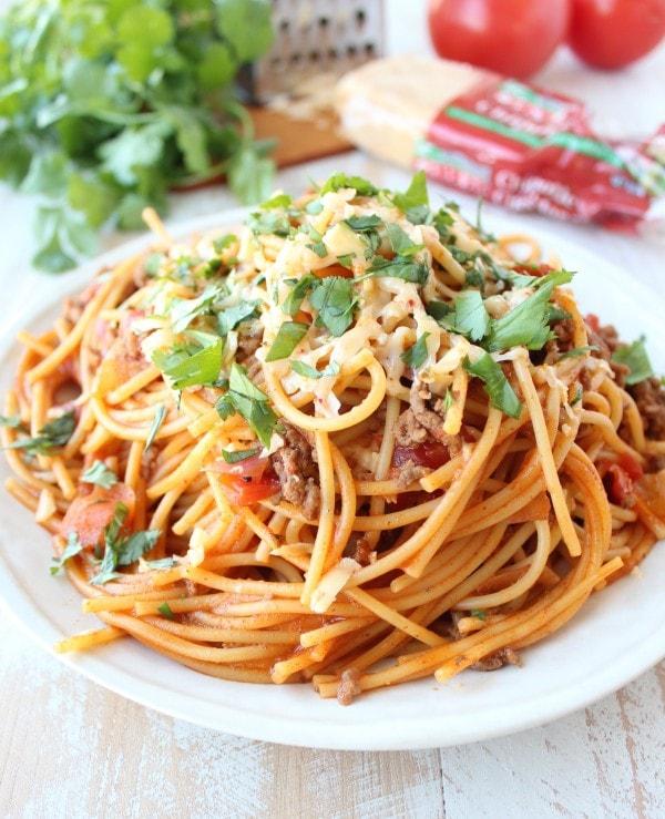 One Pot Buffalo Turkey Spaghetti Recipe