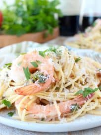 One Pot Tuscan Shrimp Scampi Pasta Recipe