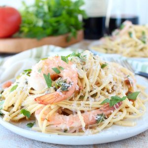 One Pot Tuscan Shrimp Scampi Pasta