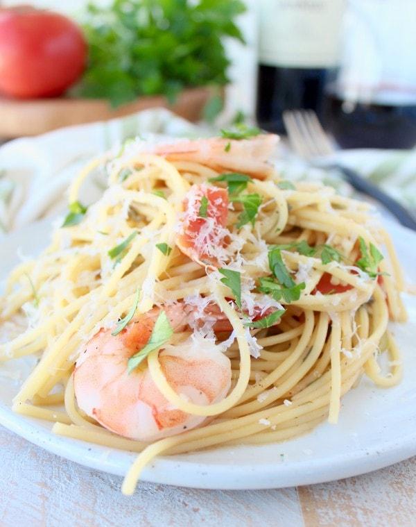 One Pot Tuscan Shrimp Scampi Recipe