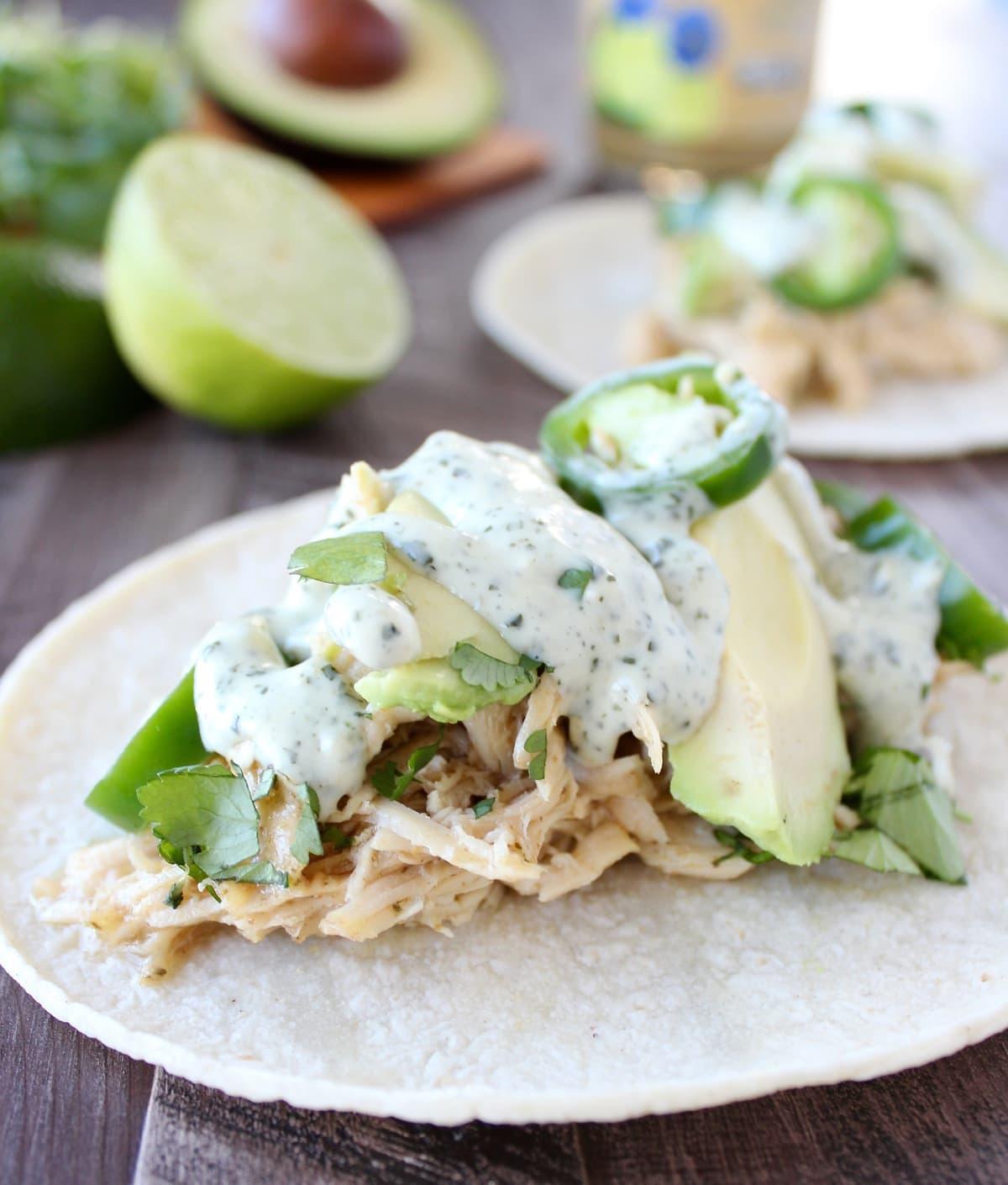 Slow Cooker Cilantro Lime Cumin Chicken Tacos Recipe