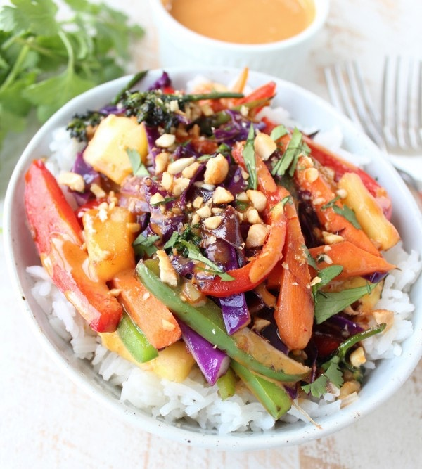 Thai Peanut Veggie Rice Bowl Recipe