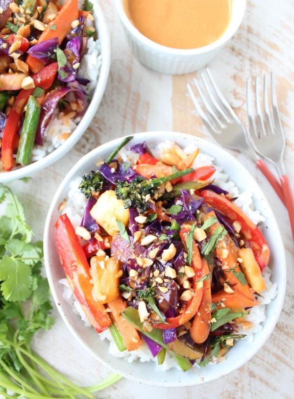 Thai Peanut Veggie Rice Bowl