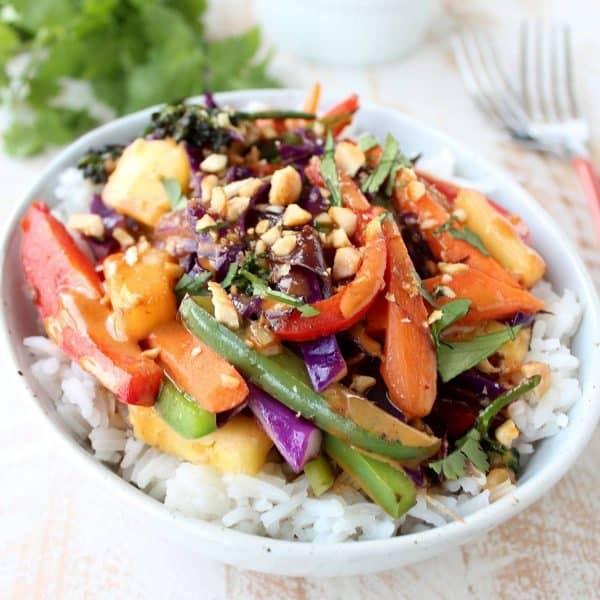 Thai Peanut Pineapple Veggie Rice Bowl Recipe