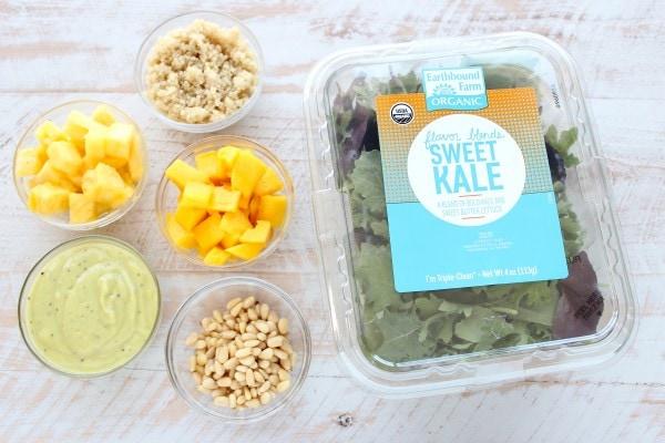 Pineapple Mango Kale Salad Ingredients