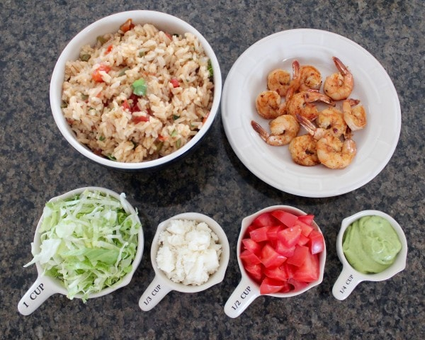 Shrimp & Rice Taco Salad Ingredients