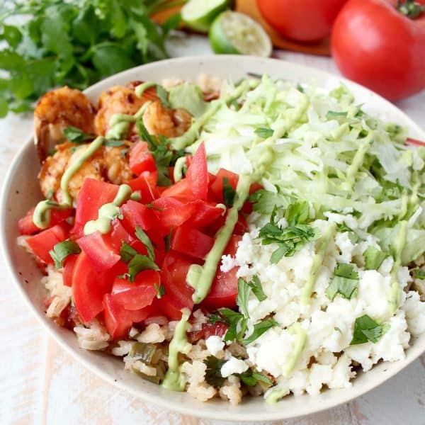 Chili Lime Shrimp & Rice Taco Salad Recipe