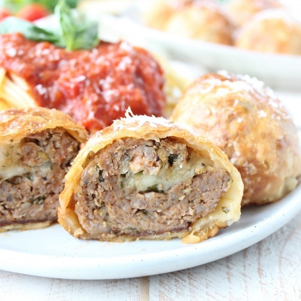 Mozzarella Stuffed Meatball Wellington Recipe