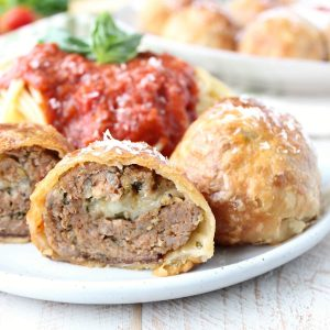 Mozzarella Stuffed Meatball Wellington