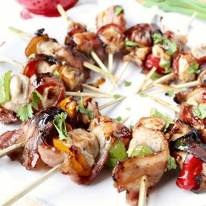 Bacon Wrapped Teriyaki Chicken Skewer Recipe