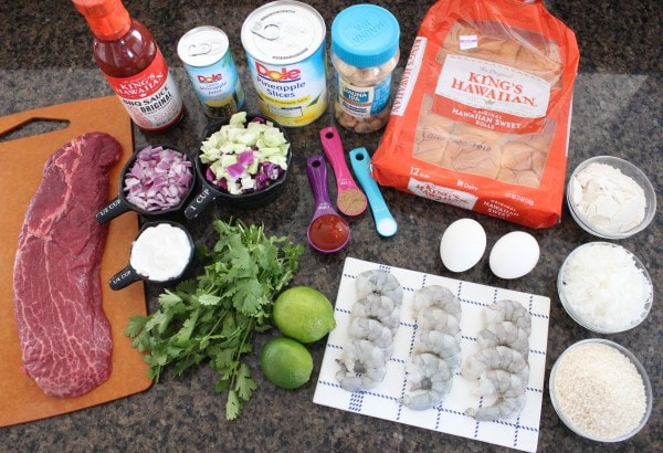 Hawaiian Surf and Turf Slider Ingredients