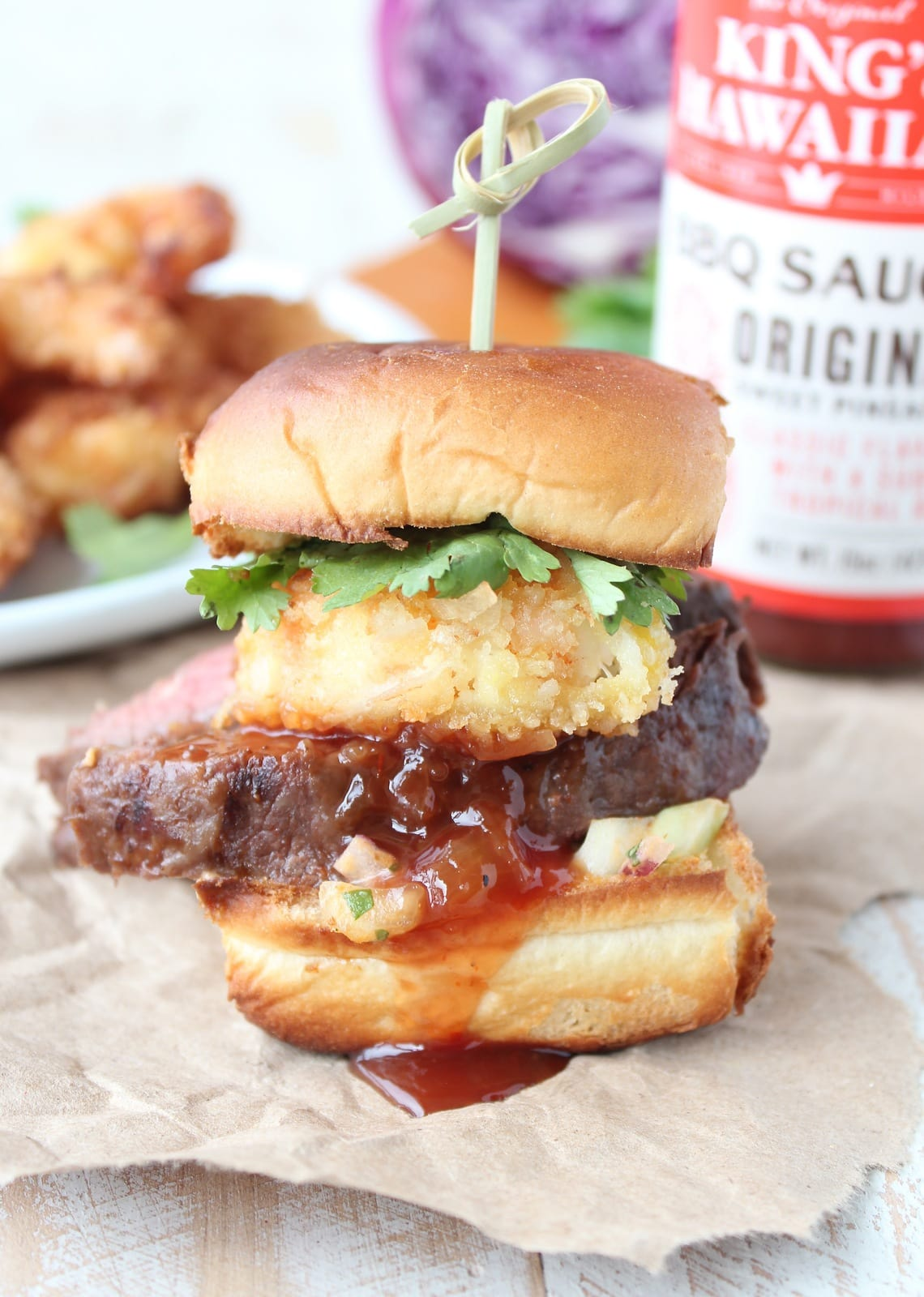 Hawaiian Surf and Turf Sliders with Pineapple Slaw