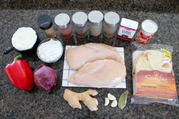 Indian Curry Chicken Taco Ingredients