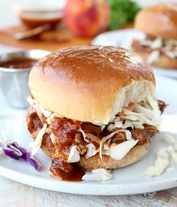 Peach BBQ Pulled Pork Sandwich Recipe