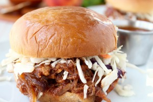 Slow Cooker Peach BBQ Pulled Pork Sandwich Recipe