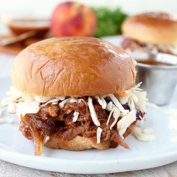 Slow Cooker Peach BBQ Pulled Pork Sandwich Recipe