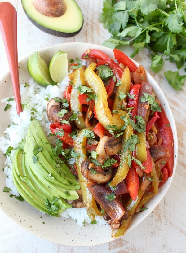 Vegan Fajita Rice Bowl Recipe
