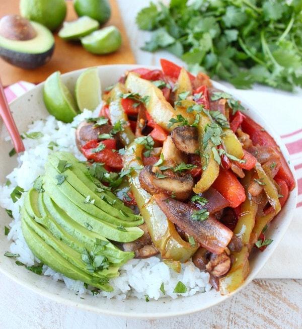 Veggie Fajita Rice Bowl Recipe