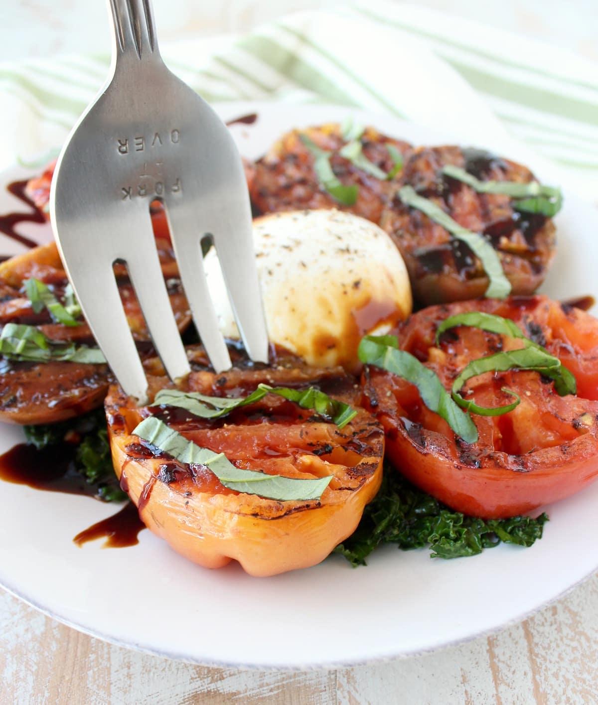 Grilled Tomato & Kale Salad Recipe - WhitneyBond.com