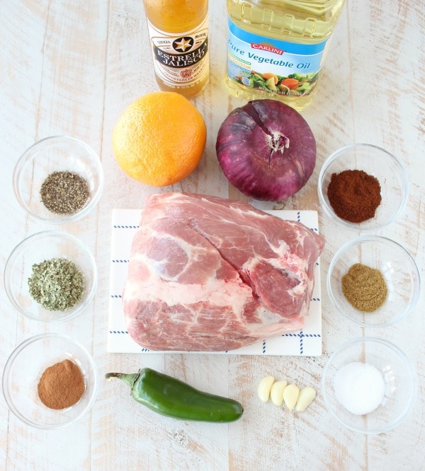 Slow Cooker Carnitas Tostadas Ingredients