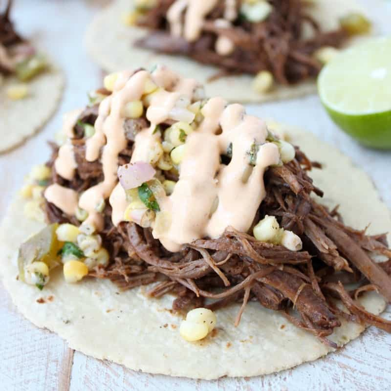 Slow Cooker Smoked Chipotle Brisket Tacos