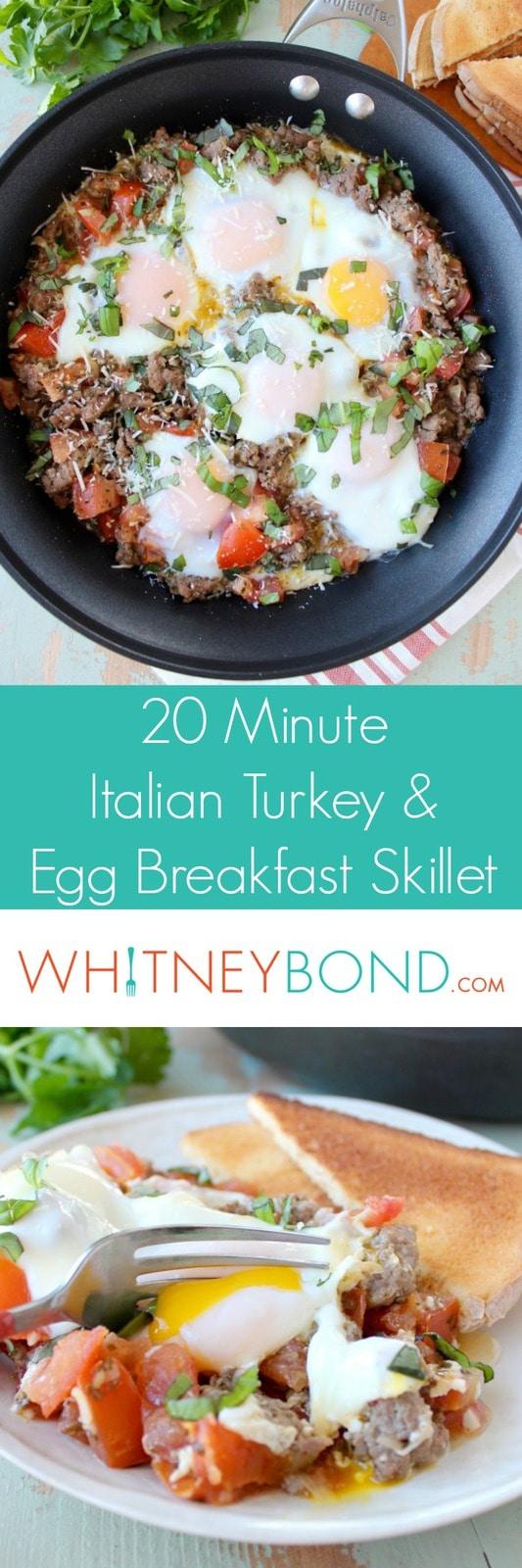 20 Minute Italian Turkey Sausage & Egg Breakfast Skillet Recipe