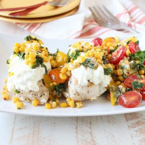 Kale Corn Succotash over Cheesy Chicken from Terra's Kitchen