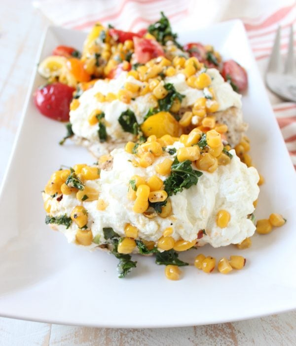 Cheesy Chicken with Kale Corn Succotash Recipe
