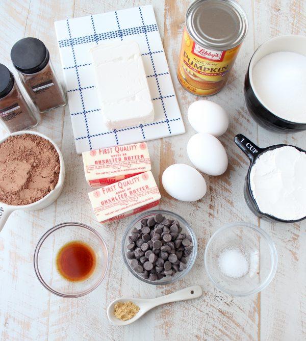 Pumpkin Cheesecake Swirled Crock Pot Brownies Ingredients
