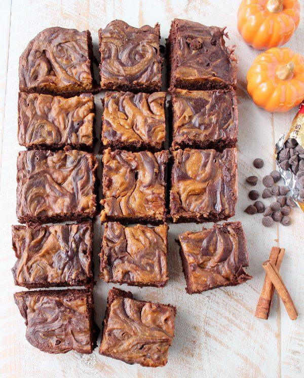 Pumpkin Cheesecake Swirled Crock Pot Brownies