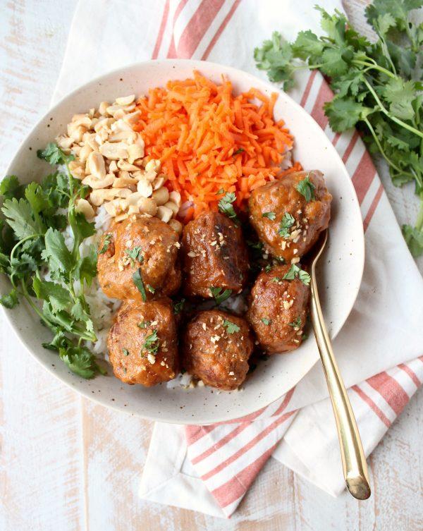 Slow Cooker Thai Peanut Turkey Meatballs Recipe