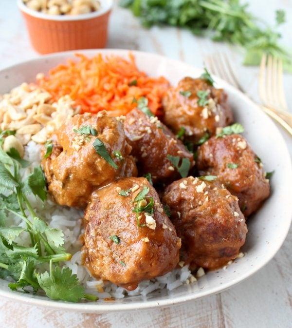 Slow Cooker Thai Peanut Turkey Meatballs