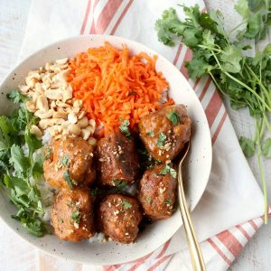 Slow Cooker Thai Peanut Turkey Meatballs