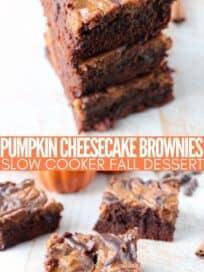 Sliced pumpkin cheesecake swirled brownies