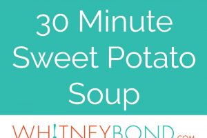 In 30 minutes, make the most delicious, vegetarian sweet potato soup recipe with rosemary roasted sweet potatoes, vegetable broth & a hint of cream!