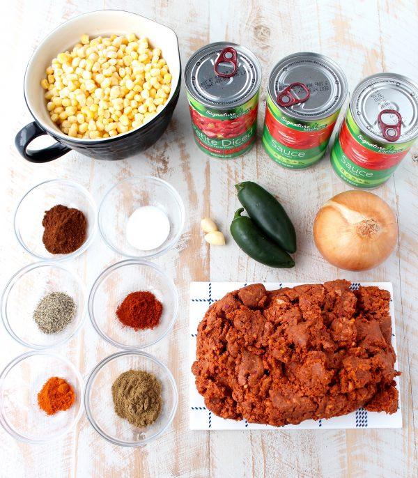 Slow Cooker Chorizo Corn Chili Ingredients