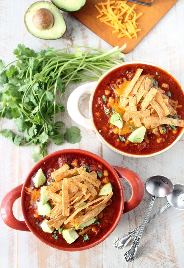 Chorizo sausage and corn chili is a spicy, flavorful slow cooker recipe, perfect for cool fall and winter days!