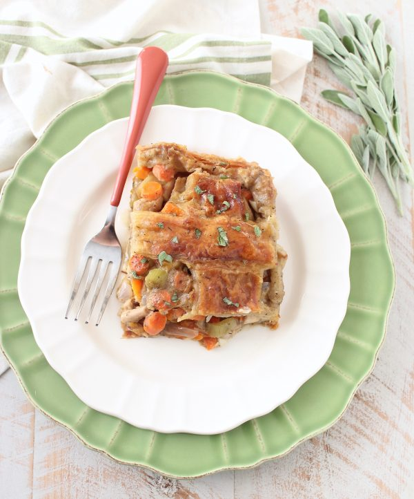 Turkey Pot Pie with Puff Pastry Crust is a delicious comfort food recipe anytime of the year, but is perfect for using up leftover turkey from Thanksgiving!