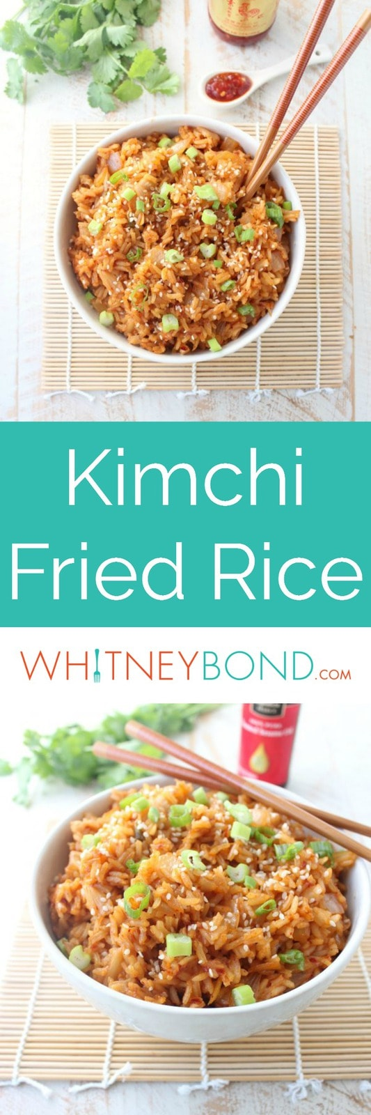 Kimchi Fried Rice is a delicious Korean recipe made in just 15 minutes, serve as a vegetarian entree, or as a side dish with Korean BBQ Short Ribs!