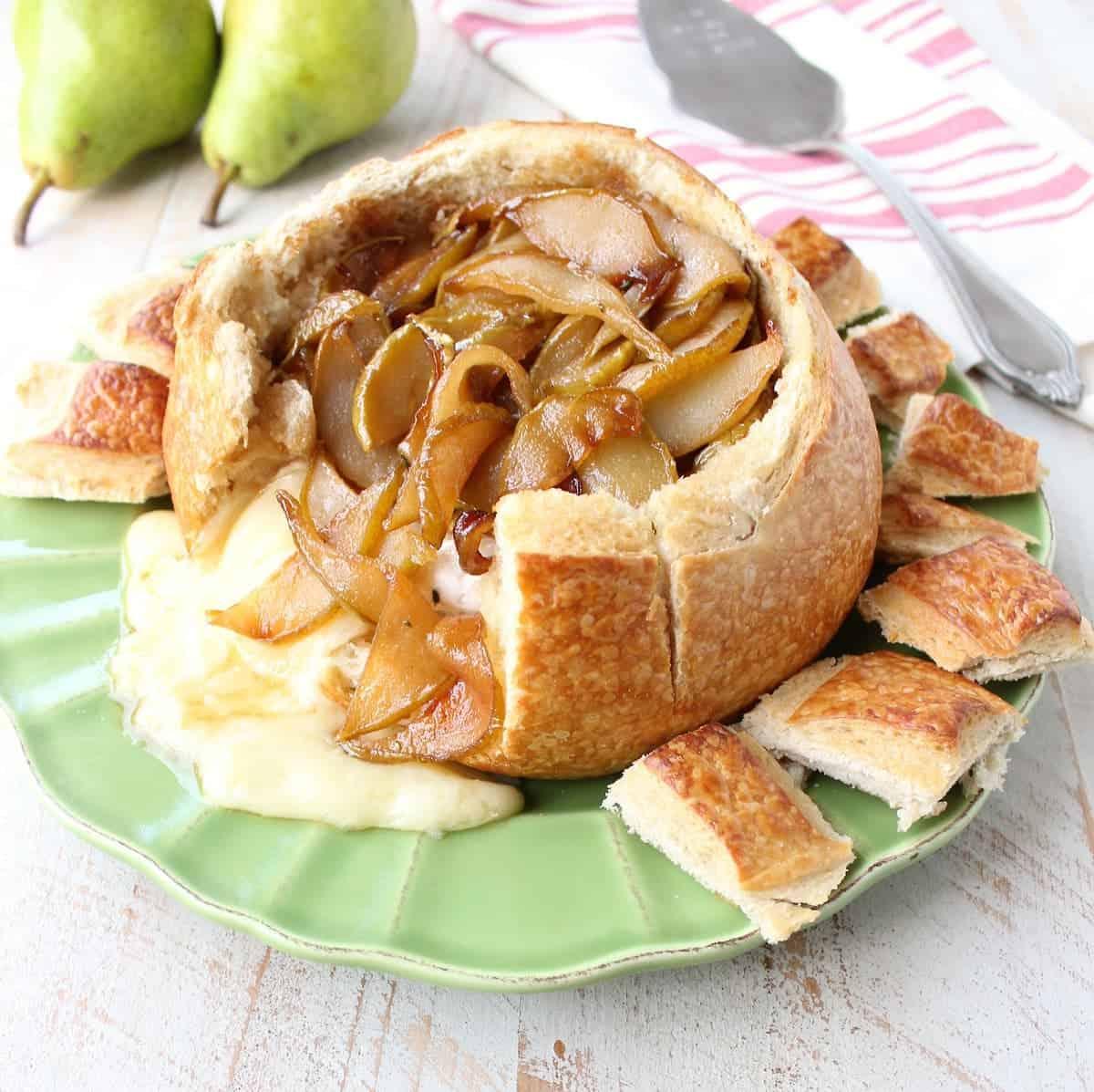 Caramelized Pear Baked Brie Sourdough Bread Bowl
