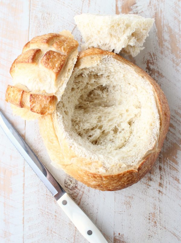 sourdough bread round with hollowed middle