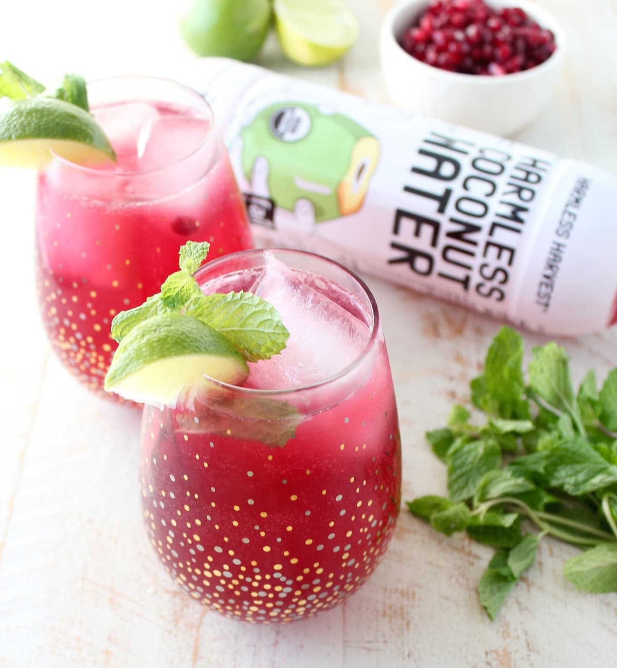 Pomegranate Coconut Mojito Punch