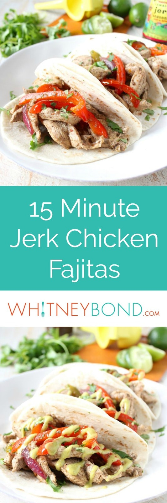 Give your chicken fajitas a taste of the Caribbean with this tasty recipe for Jerk Chicken Fajitas, made in only 15 minutes for an easy weeknight dinner!