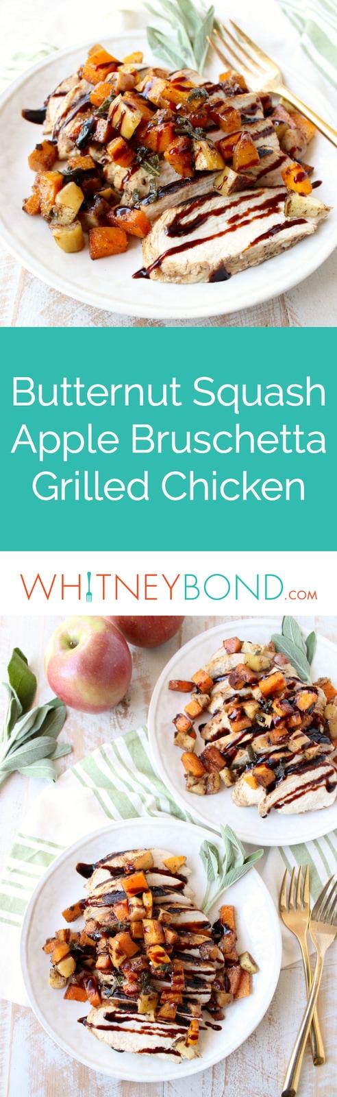 Butternut Squash Apple Bruschetta tops balsamic grilled chicken in this delicious grilled bruschetta chicken recipe that's gluten free, dairy free & made in only 29 minutes!