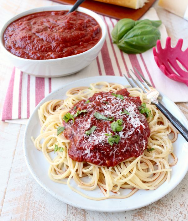 Ditch the store-bought jar for this easy spaghetti sauce recipe, made in under 30 minutes! It's delicious, gluten free & vegan!
